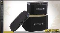 Série de 2 boîtes de rangement décoratives en similicuir noir