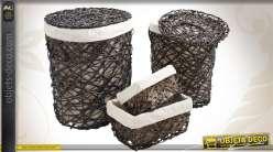 Série de 4 corbeilles à linge en éclisse teintée et en métal