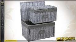 2 coffres de rangement en osier et papier cordé coloris gris