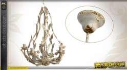 Lustre plafonnier 5 bras orné de feuilles coloris blanc vieilli