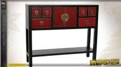 Console rouge et noire à 6 tiroirs de style japonais