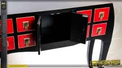 Console coloris rouge et noir style japonais 8 tiroirs 2 portes