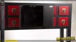Console rouge et noir de style japonais à 8 tiroirs et 2 portes