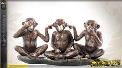 Statuette animalière : les 3 singes facétieux 36 cm