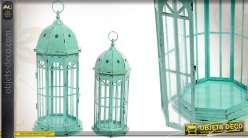 Série de 2 lanternes hexagonales style rétro coloris vert antique