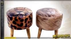 Série de deux poufs ronds sur pieds à motifs de fauves africains