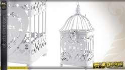 Cage à oiseaux porte-photophore coloris gris clair
