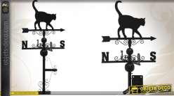 Girouette décorative en métal motif chat