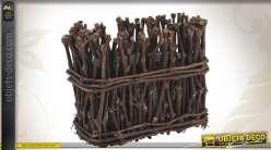 Jardinière décorative en bois avec bac en zinc