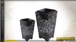 Série de 2 cache-pots décoratifs en rotin et métal