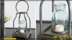 Lanterne en métal style indus coloris gris antique 33 cm