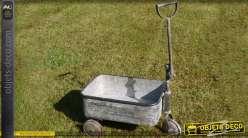 Chariot en métal galvanisé de style rétro coloris gris antique