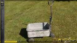 Chariot en métal galvanisé gris zinc vieilli 48 cm