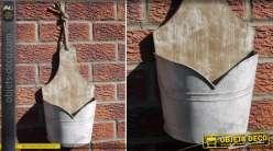Jardinière murale en bois et acier galvanisé style rétro