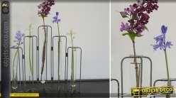 Support avec 5 tubes-éprouvettes porte-fleurs