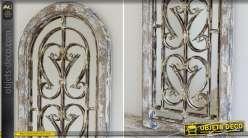 Miroir fenêtre brocante bois et métal à forme en arcade 122 cm