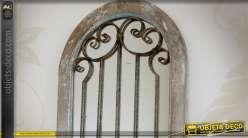 Miroir fenêtre brocante avec ornementation fer forgé 112 cm