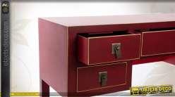 Bureau en bois de style japonais coloris rouge et doré