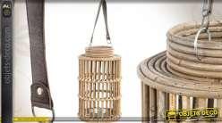 Lanterne en rotin, cuir et métal à poser ou à suspendre 38 cm