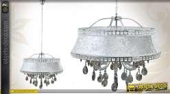 Suspension ronde en métal nickelé avec pampilles