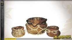 Série de 3 cache-pots décoratifs en coco