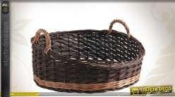 Corbeille présentoir en osier bicolore avec poignées