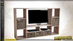 Meuble TV contemporain en épicéa gris à 12 niches