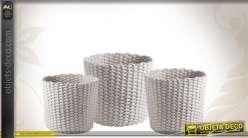 Série de 3 corbeilles rondes en corde de coton