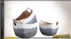 Trio de corbeilles de rangement en jacinthe teintée