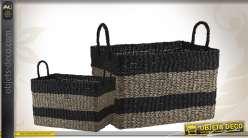 Corbeilles de rangement en jonc et corde teintée avec anses