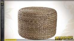 Pouf en jacinthe tressée de forme ronde