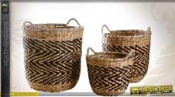 3 cache-pots décoratifs en jacinthe et en corde 2 couleurs
