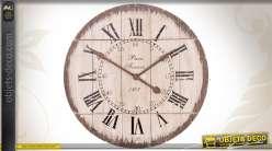 Horloge décorative en bois vieilli patiné blanc
