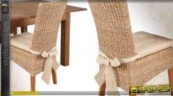 Chaise de salon en abaca et teck avec coussin