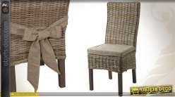 Chaise de style campagne chic en poelet gris et manguier teinté