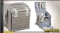 Panier de pique-nique 4 couverts en osier gris