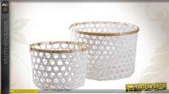 Série de 2 corbeilles en bambou laqué coloris blanc