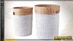 Duo de corbeilles à linge en jacinthe coloris blanc