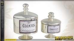Ensemble de 2 boîtes à biscuits décoratives en verre finition ancienne