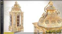 Lanterne ornementée en métal doré et patiné Ø 23 cm