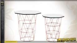 s rie de 2 sellettes design et d co en m tal et en verre. Black Bedroom Furniture Sets. Home Design Ideas