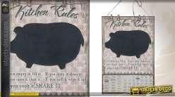 Tableau noir en forme de cochon avec calendrier de style vintage