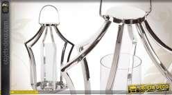 Lanterne décorative en métal chromé avec photophore en verre
