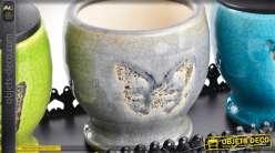 Trio de pots décoratifs sur plateau motifs papillons et fleurs de lys