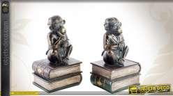 Paire de serre-livres vintage avec figurines de singes