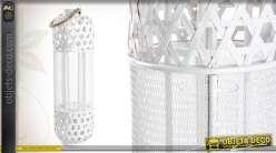 Lanterne en bois et en métal coloris blanc avec photophore