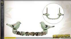 Poignée de porte de style vintage motifs oiseaux et coloris patiné