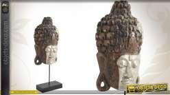 Tête du Buddha en bois sculpté finition ancienne