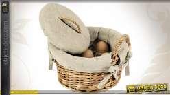 Coffret à oeufs avec couvercle en osier et doublure jute