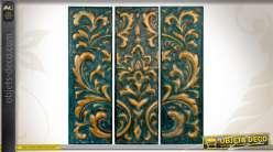 Triptyque d coratif en m tal vieilli emboss finition dor e for Decoration murale doree